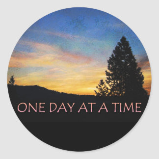 One Day at a Time Sunrise Classic Round Sticker