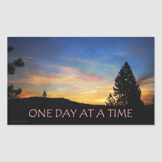 One Day at a Time Sunrise Rectangular Sticker