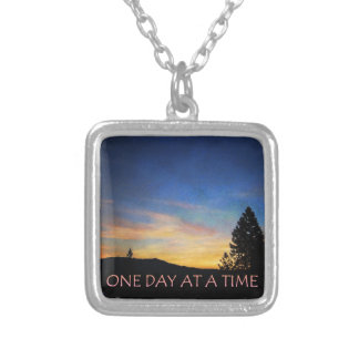 One Day at a Time Sunrise Square Pendant Necklace