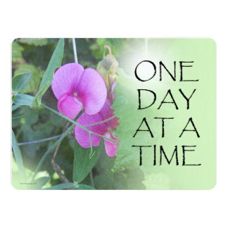 """One Day at a Time Sweet Peas 6.5"""" X 8.75"""" Invitation Card"""