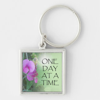 One Day at a Time Sweet Peas Keychain
