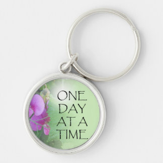 One Day at a Time Sweet Peas Silver-Colored Round Keychain