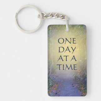 One Day at a Time Tree Canopy Single-Sided Rectangular Acrylic Keychain