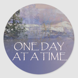 One Day at a Time Tres Hills Snow Classic Round Sticker