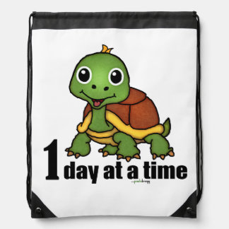 One Day at a Time -Turtle Drawstring Bag