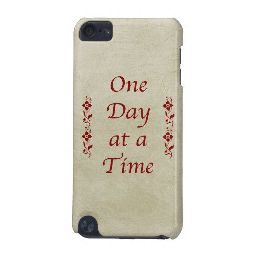 One Day at a Time-Vintage with Red Floral Accents iPod Touch 5G Cases