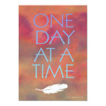"One Day at a Time White Feather Invitation 5"" X 7"" Invitation Card"