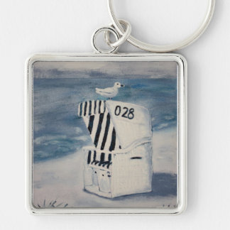One day at the sea Silver-Colored square keychain