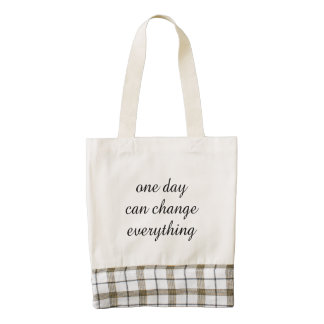 One day can change everything inspirational quote zazzle HEART tote bag