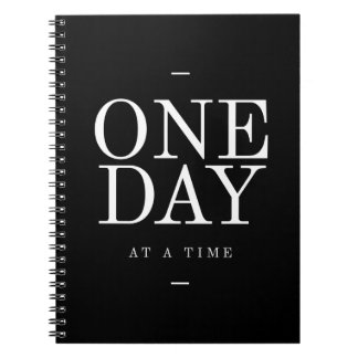 One Day- Goals Inspirational Quotes Black Notebook