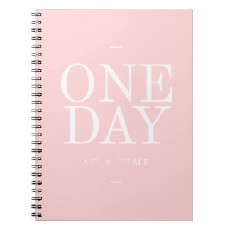 One Day - Goals Inspirational Quotes Pink Notebook
