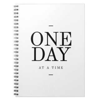 One Day- Goals Inspiring Quote White Bl Notebook