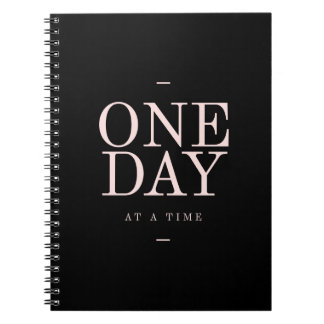 One Day- Goals Motivational Quote Black Notebook