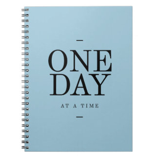 One Day Goals Motivational Quote Blue Bl Notebook
