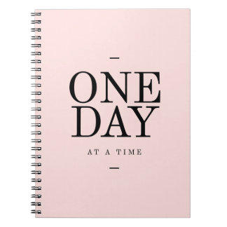 One Day- Goals Motivational Quote Pink Bl Notebook