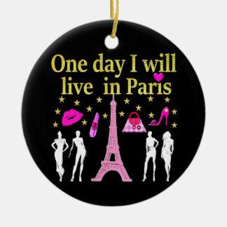 ONE DAY I WILL LIVE IN PARIS CERAMIC ORNAMENT