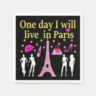 ONE DAY I WILL LIVE IN PARIS NAPKIN