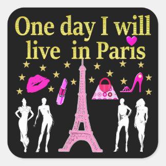 ONE DAY I WILL LIVE IN PARIS SQUARE STICKER