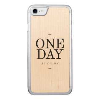One Day Inspiring Quote White Black Carved iPhone 7 Case