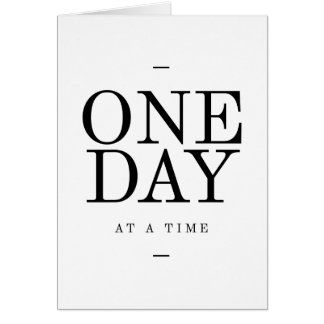 One Day Inspiring Quote White Black Gifts Card