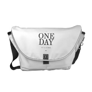 One Day Inspiring Quote White Black Gifts Messenger Bag