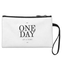 One Day Inspiring Quote White Black Gifts Wristlet