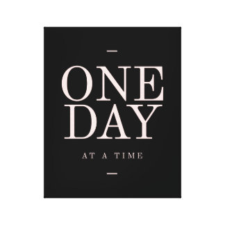 One Day - Inspiring Quotes Black Pink Goals Canvas Print