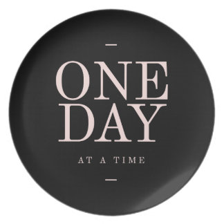 One Day - Inspiring Quotes Black Pink Goals Dinner Plate