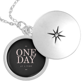 One Day - Inspiring Quotes Black Pink Goals Round Locket Necklace