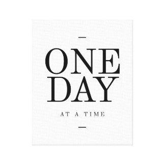 One Day Inspiring Sobriety Quote White Black Canvas Print