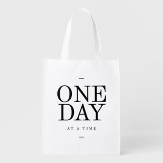One Day Inspiring Sobriety Quote White Black Grocery Bag