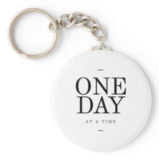 One Day Inspiring Sobriety Quote White Black Keychain