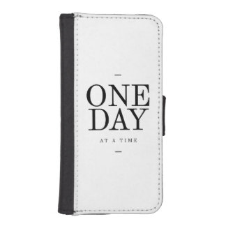 One Day Inspiring Sobriety Quote White Black Phone Wallets