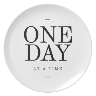 One Day Inspiring Sobriety Quote White Black Plate