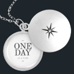 """One Day Inspiring Sobriety Quote White Black Silver Plated Necklace<br><div class=""""desc"""">&quot;One Day At A Time&quot;. Inspirational motivational quote, in a stylish typographic design of black and white, perfect for decorating for your office, your gym or your home. Let this positive quote uplift your day. Makes the ideal gift for anyone working through something challenging difficult in their life step by...</div>"""