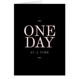 One Day - Motivational Quote Black Pink Goals Card