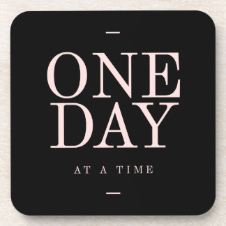 One Day - Motivational Quote Black Pink Goals Drink Coaster