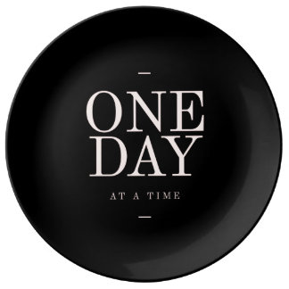One Day - Motivational Quote Black Pink Goals Porcelain Plates