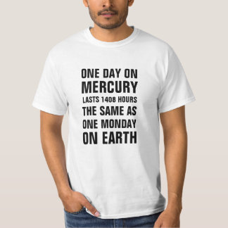 One day on Mercury lasts 1408 hours the same as on T-Shirt