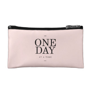 One Day Perseverance Quote Blush Pink Gift Cosmetic Bags