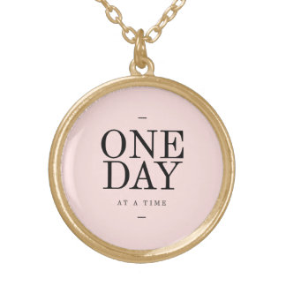One Day Perseverance Quote Blush Pink Gift Gold Plated Necklace