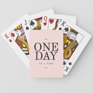 One Day Perseverance Quote Blush Pink Gift Poker Cards