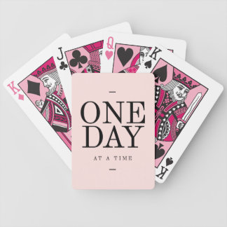 One Day Perseverance Quote Blush Pink Gift Bicycle Playing Cards