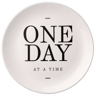 One Day Perseverance Quote Blush Pink Gift Porcelain Plates