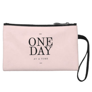 One Day Perseverance Quote Blush Pink Gift Wristlet
