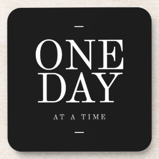 One Day Student Motivational Quote Black and White Beverage Coaster