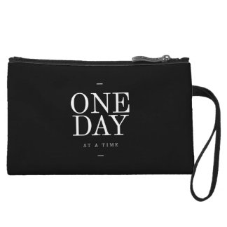 One Day Student Motivational Quote Black and White Wristlet