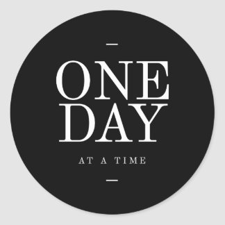 One Day Study Motivational Quote Black and White Classic Round Sticker