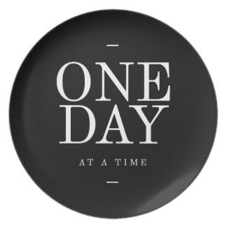 One Day Study Motivational Quote Black and White Plate