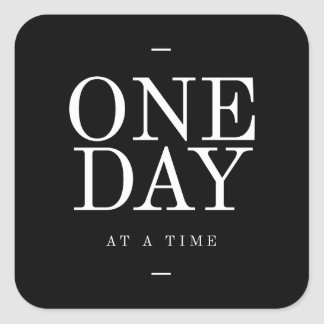 One Day Study Motivational Quote Black and White Square Sticker